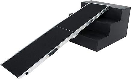 WORHAN® Rampa de Carga Acceso para Mascota Perro 113kg Rigida Robusta Plegable Plataforma Aluminio Superficie