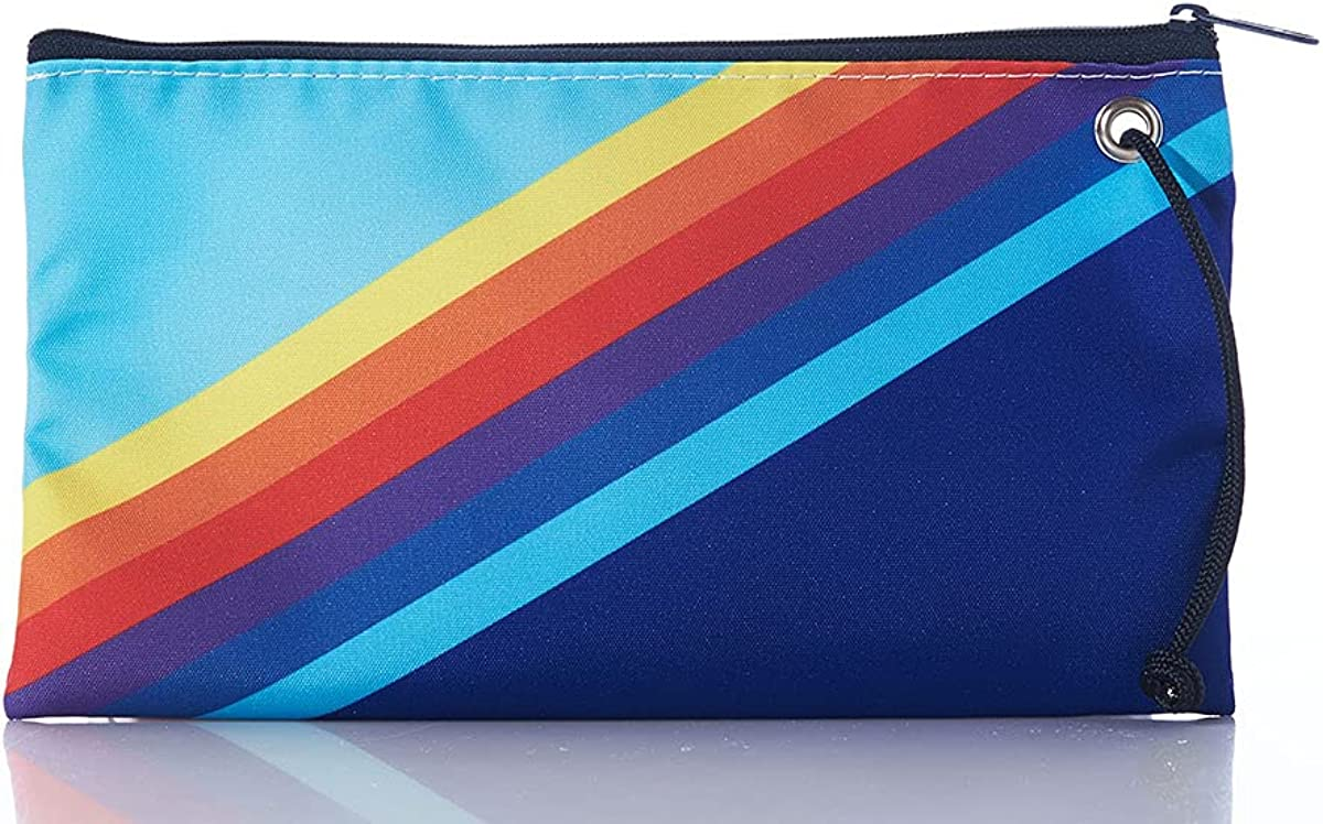 Sea Bags Recycled Sail Cloth Retro Stripe Large Wristlet - Zip Wristlet With Strap, Cell Phone Pouch for Women