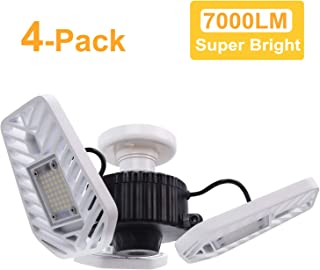 HUNHUN 4-Pack LED Garage Lights, Deformable LED Garage Ceiling Lights 7000 Lumens, 60W CRI 80 Led Shop Lights for Garage, Adjustable Garage Lights, Led Garage Lighting (No Motion Activated)