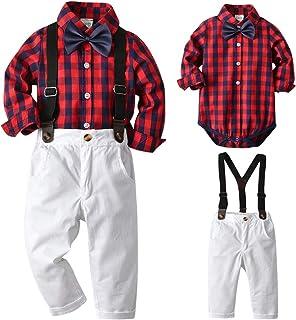 SANMIO Baby Jungen Bekleidungssets, 3tlg Strampler Set Shirt  Weste  Hose Langarm Body Kleidung Set für Baby Geburtstagsparty Kleid
