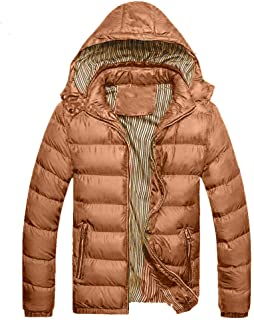 Mens Thicken Outerwear, Balakie Detachable Hood Jacket Solid Padded Bubble Coat