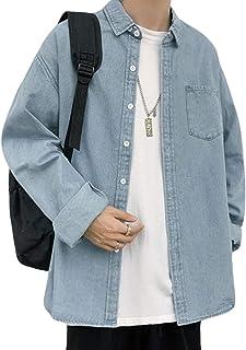 Alppvシャツ メンズ 春 長袖 デニムシャツ ゆったり 薄手 トップス カジュアル アウター シンプル シャツジャケット 紳士着 シャツ 無地 ストリート系