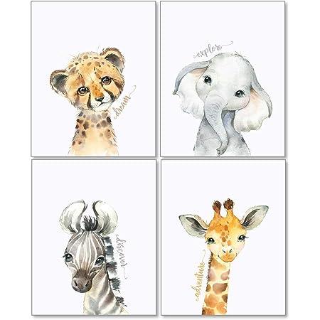 Confetti Fox Safari Animals Nursery Pictures Wall Decor - 8x10 Unframed Set of 4 Art Prints - Leopard Elephant Zebra Giraffe - Baby Boy Girl Zoo Jungle Watercolor Artwork