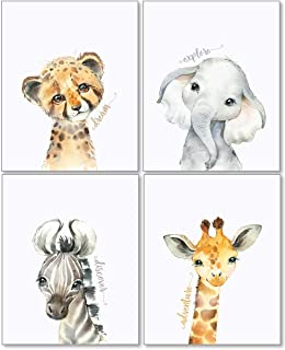 Set of 3 Pencil Drawing Baby Safari Animal Framed Rustic Nursery Wall Decor Pictures Walnut Stained Frame, 11x14