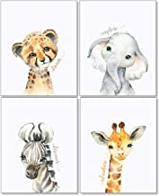 Confetti Fox Safari Animals Nursery Pictures Wall Decor - 8x10 Unframed Set of 4 Art Prints - Leopard Elephant Zebra Giraf...