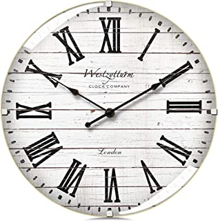 Westzytturm Wood Wall Clock 12 inches Luxury Curved Glass Roman Numeral Silent Large Wall Clock Rustic Battery Operated Non Ticking,Big Round Clocks for Wall Decor,Living Room,Kitchen,Office,White