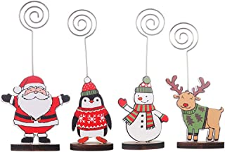 Amosfun 4pcs Place Card Holders Christmas Santa Snowman Elk Table Number Stands Wood Name Photo Clip Holder for Xmas Party Decoration