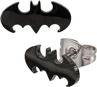 Stainless Steel Post with Batman Cut Stud Earrings [Jewelry] Inox
