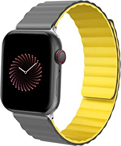 ALTOUMAN Silicone Magnetic Watch Bands Compatible with Apple Watch 38mm 40mm 41mm 42mm 44mm 45mm, Adjustable Loop Strap with Strong Magnetic Closure Compatible with iWatch Series 7 6 5 SE 4 3 2 1