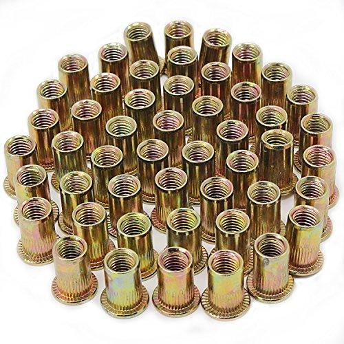 HSeaMall M8 vergoldet Carbon Stahl Stift Mutter Zink-überzogener Kohlenstoffstahl-Niet-Nuss-flacher Kopf verlegte Niet Nutsert-Kappe M8 50PCS