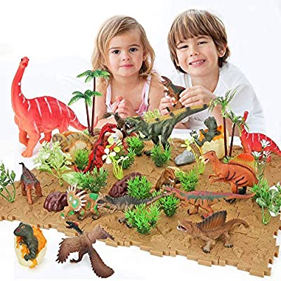 85 PCS Realistic Dinosaur Figures Playset,Educational Dinosaur Toys Cake Topper with Floret Plant Bottom Plate Gift for Boys Girls from BeebeeRun