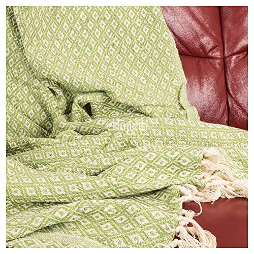 ETHNICITI Fair Trade Indian Recycled Cotton Woven Diamond Sofa Settee Bedspread Fringe Blanket Throw 130x180cm - Sage Green