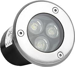 Wilktop 3W Foco Suelo Led, Impermeable IP67 Lámpara de Subterránea Foco Empotrable en el Piso para Jardín Lámpara de Luces de Jardín para Exterior (Blanco Cálido)