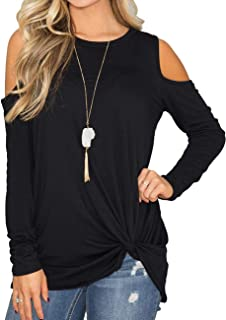 Womens Casual Long Sleeve Cold Shoulder Twist Knot Tops Blouse T Shirt