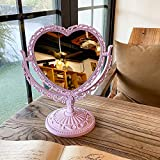 BARMI Desktop Antique Mirror, Vintage Vanity MirrorTable Mirror Tabletop Mirror Double Sided Mirror Magnifying Heart Mirror Oval Mirror Vintage Mirror Cute Vanity Mirror Pink Mirror Purple Heart