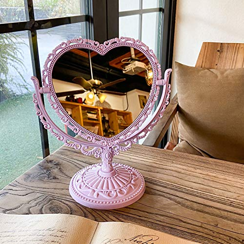BARMI Espejo de escritorio antiguo, espejo de mesa vintage, espejo de mesa, espejo de doble cara, espejo de corazón, espejo ovalado, espejo vintage, espejo de tocador, espejo rosa, morado y ovalad