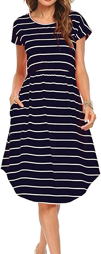 Qearal Women Summer Short Los Angeles Mall Sleeve High quality new Striped Swing T-Shirt Loose Mid