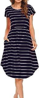Qearal Women Summer Short Sleeve Striped Loose Swing T-Shirt Midi Dress with Pockets