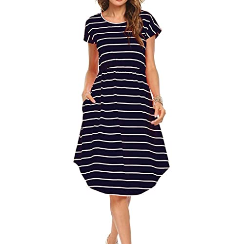 d2674232b6e Qearal Women Summer Short Sleeve Striped Loose Swing T-Shirt Midi Dress  with Pockets