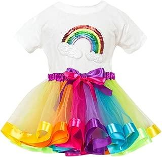Rainbow Tutu Jupe Tenues Vêtements Set Bébé Filles Anniversaire T-shirt Hauts chemisier
