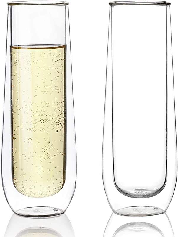 Sweese 4614 Stemless Champagne Flute Glasses Set Of 2 6 Oz Double Walled Stemless Glass Flute Perfect For A Bridal Shower Wedding Day Mimosa Party