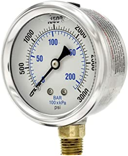 PIC Gauge PRO-201L-254P Glycerin Filled Industrial Bottom Mount Pressure Gauge with Stainless Steel Case, Brass Internals, Plastic Lens, 2-1/2