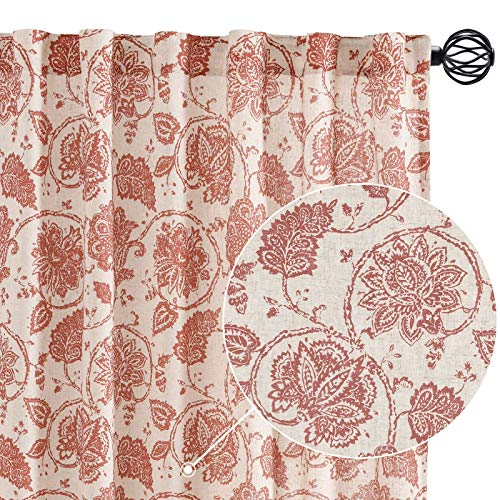 Paisley Scroll Printed Linen Curtains Rod Pocket Back Tab Medallion Design Jacobean Floral Curtains Burlap Vintage Kitchen Drapes Red on Beige 50 by 84 Inch Set of Two