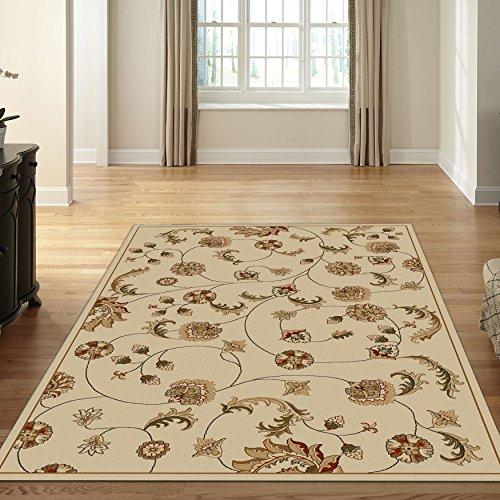 Ivory floral transitional rug