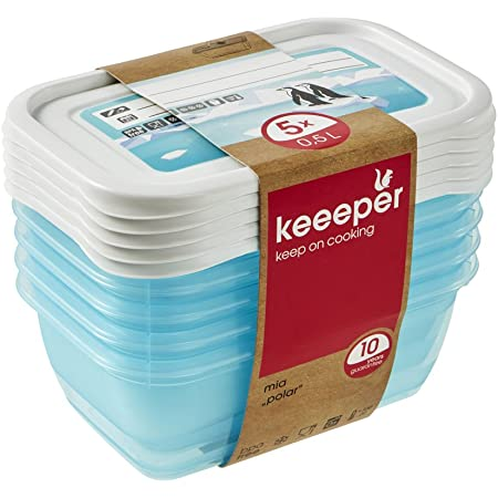 keeeper Food Containers, Set of 5, Freezable, Labelled Lid with Rewritable Surface, 5 x 500 ml, 15.5x10.5x6 cm, Mia Polar, Transparent Ice Blue