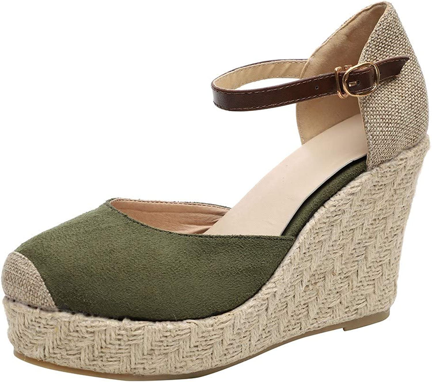 Wedges Sandals for Women,Vibola Ankle Buckle High Heel Pointed-Toe Comfort Flock Outdoor shoes