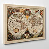 Quadro su Tela - INTELAIATO - Antica Mappa 1646 Mondo - World Map - Cartina Geografica - 7...