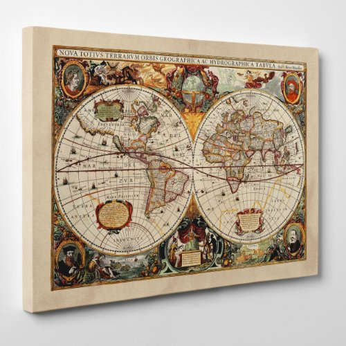 Quadro su Tela - INTELAIATO - Antica Mappa 1646 Mondo - World Map - Cartina Geografica - 70x100cm - Spessore 2cm