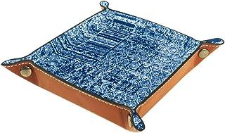 1 plateau en cuir synthétique pour servir des clés, des porte-monnaie, des clés, un portefeuille, une boîte de rangement a...
