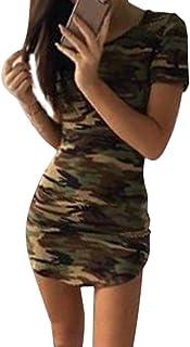 6a577b84da61f Zojuyozio Women Casual Ruond Neck Short Sleeve Camouflage Slit Bodycon Mini  Dress