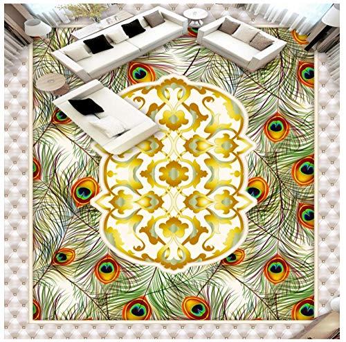 Hd Europese dier pauw vleugels gouden bloemen textureHome decoratie vloer behang muurschildering PVC waterdichte zelfklevende slaapkamer woonkamer badkamer 3D Sticker aanpassen 400(w)x280(H)cm