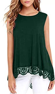 DOSWODE Womens Tops Short Sleeve Lace Trim O-Neck A-Line Tunic Blouse Shirts