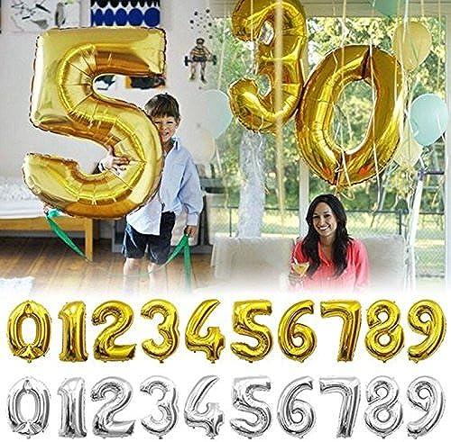 te hará satisfecho Tyro Globos de oro de 32 32 32 pulgadas con números de plata para decoración de fiestas de cumpleaños, bodas y globos  los últimos modelos