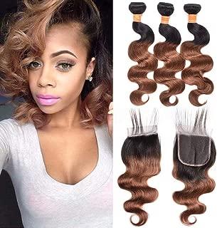 JulyQueen 1B/30 Ombre Human Hair Bundles With Closure Black To Auburn 2 Tone Peruvian Virgin Remy Hair Weave 3 Bundles With Closure(10 12 14+10closure)