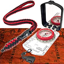 Pro Hiking Compass Survival Gear and Equipment – Waterproof, Glow-in-the-Dark with Mirror Sighting – Neck Lanyard with 35-Ft Paracord Rope, Fire Starter Survival Tool, Whistle, Fishing Line