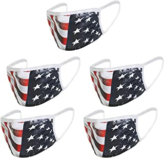 Zrom Face Mask 2/3/5Pc Flag Printing Can Clean Dustproof Mask Unisex Outdoor Washable Mouth Mask Face Covering Protection Non-Woven Fabric Mask
