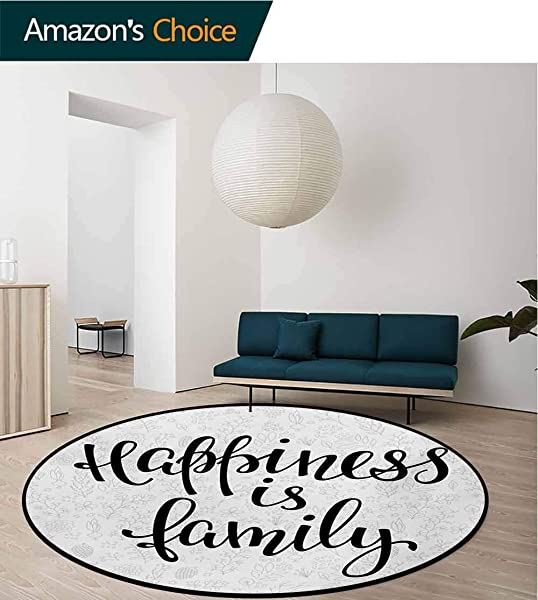 RUGSMAT Family Round Rug Happiness Is Family Hand Writing Inspirational Phrase Cute Simple Nature Backdrop Carpet Door Pad For Bedroom Living Room Balcony Kitchen Mat Diameter 71 Inch