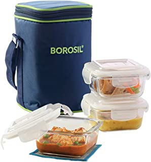 Borosil - ICY22SD3320 Glass Lunch Box Set of 3, 320 ml, Microwave Safe Office Tiffin (12 x 12 x 6.5 cm)