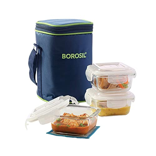 Borosil Glass Lunch Box Set of 3, 320 ml,Microwave Safe Office Tiffin (12 x 12 x 6.5 cms)