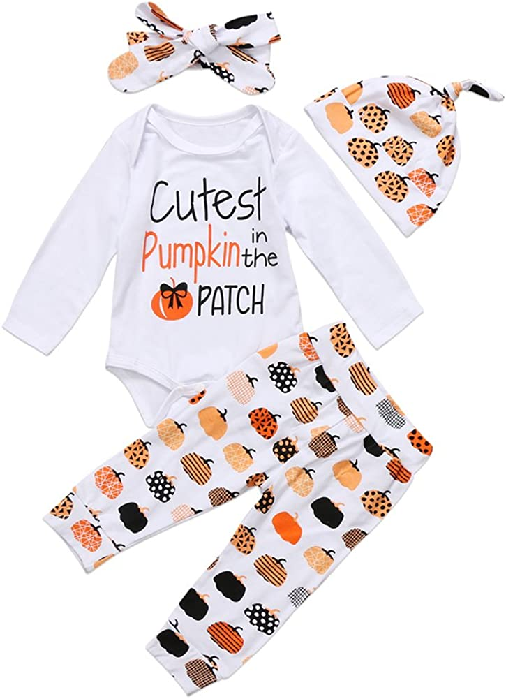 4Pcs Cute Infant Baby Girl Boy Halloween Thanksgiving Clothes Pumpkin Romper with Hat and Long Pants Outfits Set