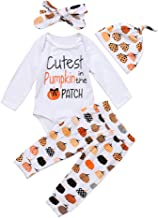 3Pcs Cute Infant Baby Girl Boy Halloween Thanksgiving Clothes Pumpkin Romper with Hat and Long Pants Outfits Set