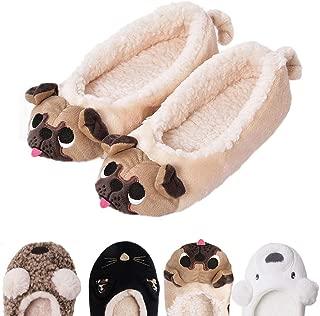 GaraTia Women's Plush Winter Warm Animal Soft Cute Home Pug Slippers Dog