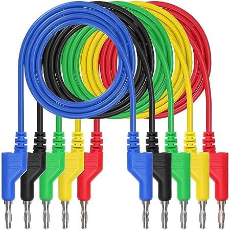 Akozon Banana Test Kabel 5pcs Elektronische Test Leads Kit P1036 Hochspannungs Doppelkopf 1m 4mm Bananenstecker Kabel Test Leads Verlängerungskabel Multimeter Test Kabel Set Beleuchtung