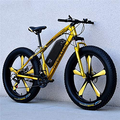 LQRYJDZ 26 Snow Electric Mountain Bicycle 48V18ah Lithium Battery 1000w Motor Fat ebike 4.0 Tires high Speed brushless Electric Bike (Color : Gold)