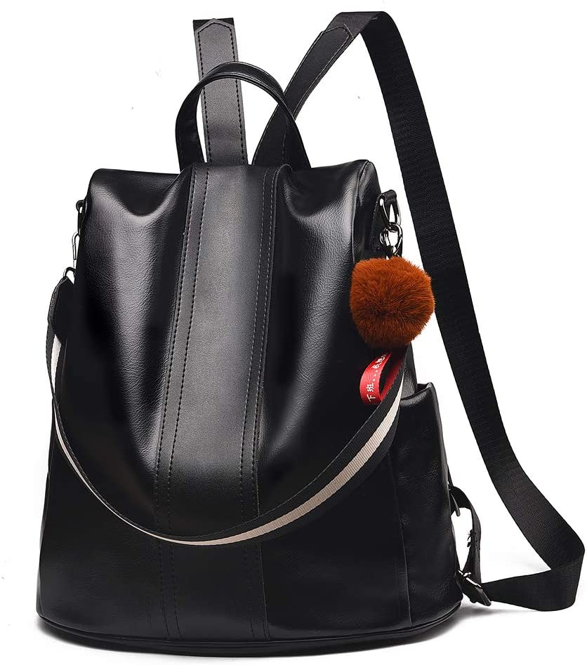 Women Backpack Purse Anti Theft Waterproof Detachable Covertible Casual Travel Shoulder Bag (Black)