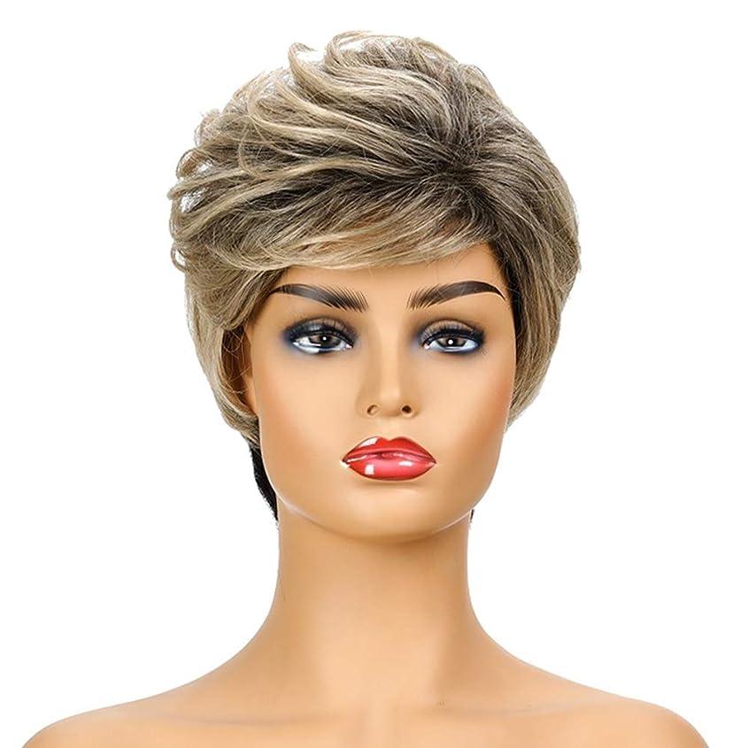 展示会ひばりパネル女性の短いブロンドの巻き毛のかつら、女性の側部のかつら、黒人女性のための自然なかつら、合成衣装ハロウィンコスプレパーティーウィッグ(ウィッグキャップ付き)
